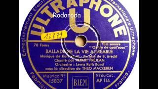 Ballade de la Vie agreable Ballade vom angenehmen Leben   Albert Prejean mit Theo Mackeben