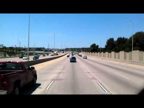 Interstate 80 West leaving Council Bluffs, Iowa and rolling into Omaha, Nebraska