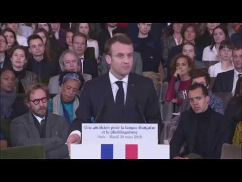 20 mars 2018, Emmanuel Macron, le francais, la francophonie et le plurilinguisme
