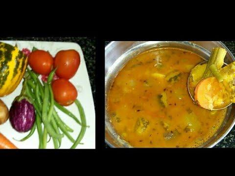 Mix Vegetable Sambar / How To Make Mix Veg Sambar Recipe In Kannada