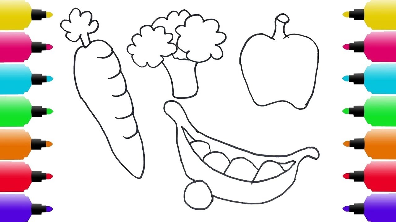fruits and vegetables coloring pages Coloring Vegetables and Drawing for Children   How to Draw  fruits and vegetables coloring pages