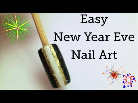 easy new year eve nail art  black and gold  amber nails