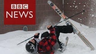 Urban skiing craze: Taking on rooftops & railings in Minnesota - BBC News