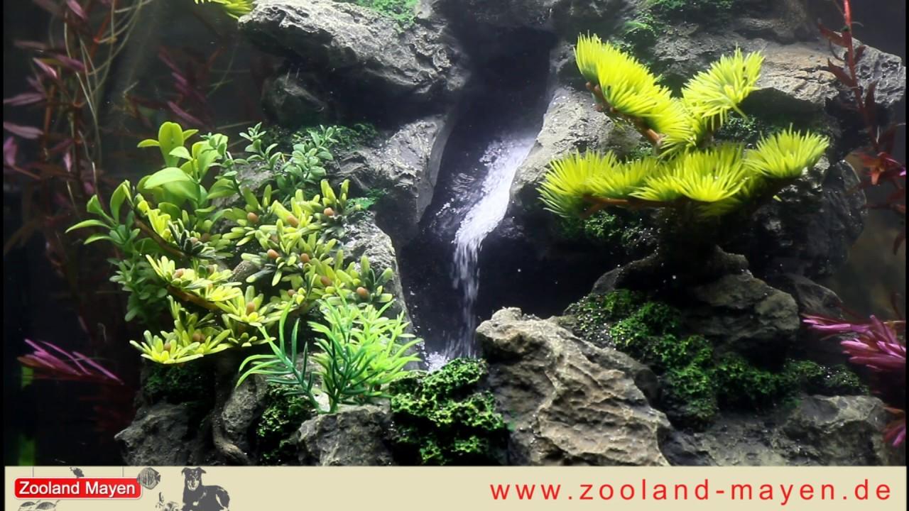 Unterwasser Wasserfall fr das Aquarium Waterfall Cliff Rock S  YouTube