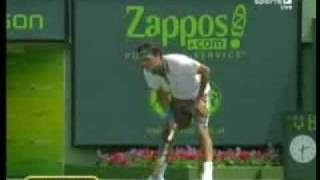 unusual. frustrated federer smashes racquet vs djokovic in miami 2009