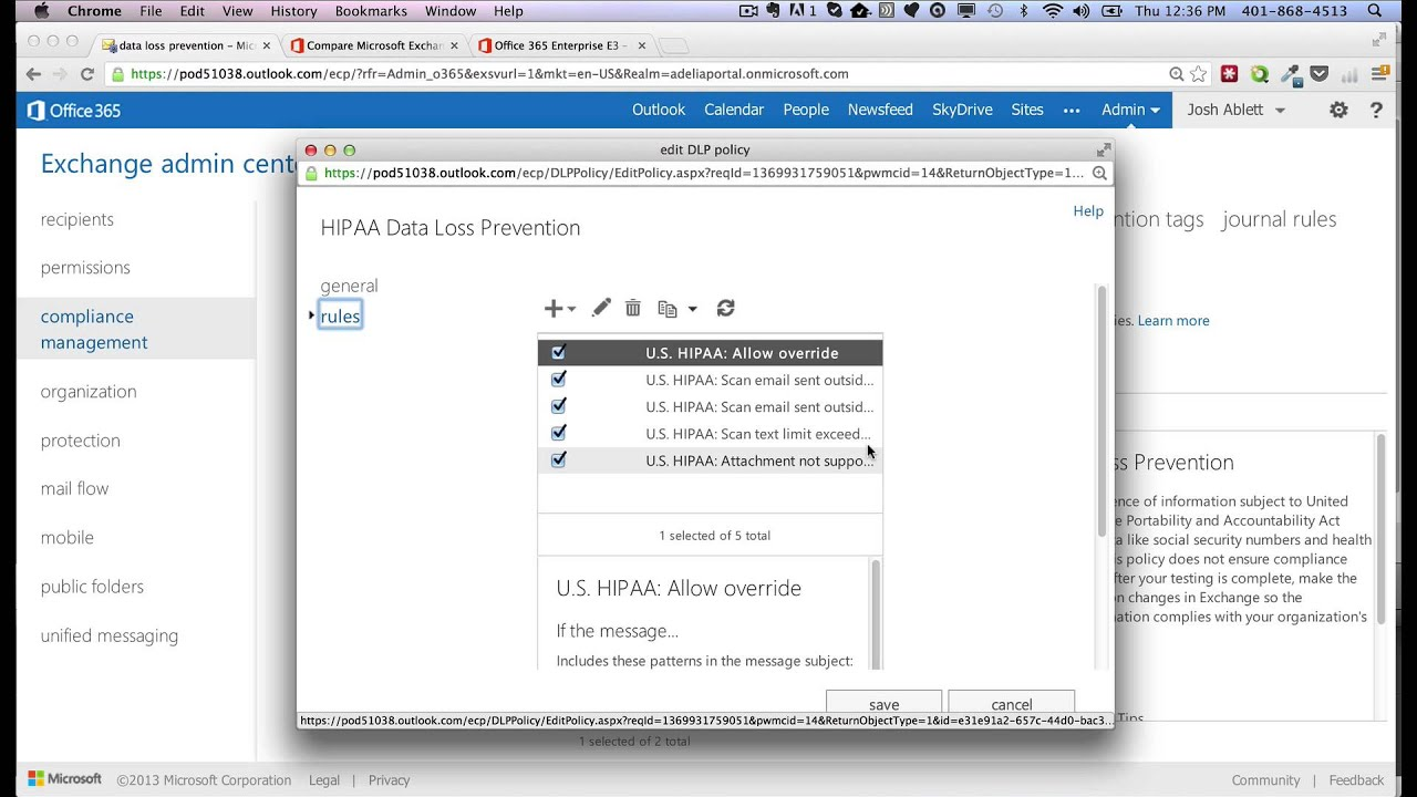 HIPAA and Office365 - Setting DLP Rules - YouTube