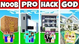 Minecraft: FAMILY SUMMER MANSION BUILD CHALLENGE - NOOB vs PRO vs HACKER vs GOD in Minecraft
