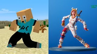 EMOTICONS MOD - Imitando BAILES de FORTNITE en MINECRAFT - Minecraft mod 1.12.2 Review ESPAÑOL