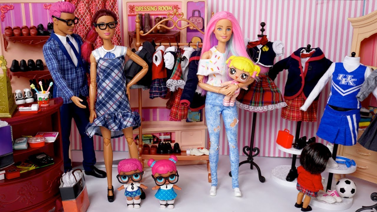 Barbie Doll LOL Teachers Pet Family & Baby Goldie New School Uniform Shopping