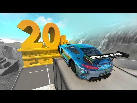 High Speed Jumping Crashes into Giant 20th Century Fox Logo - Beamng drive