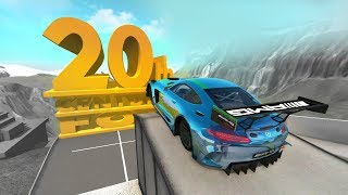 high speed jumping crashes into giant 20th century fox logo beamng drive