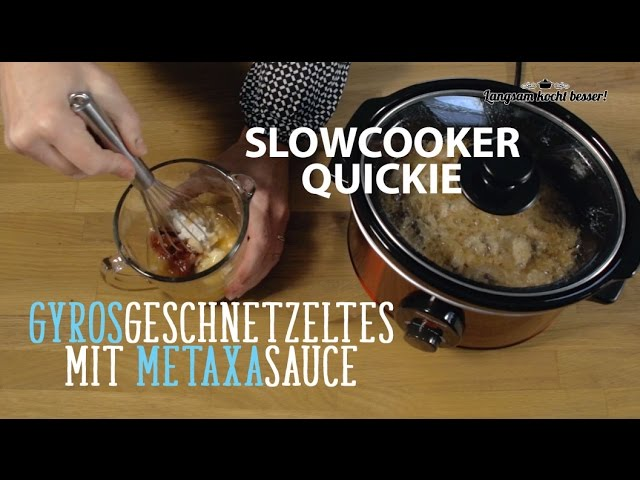 Slowcooker-Quickie: Gyros in Metaxa-Sauce