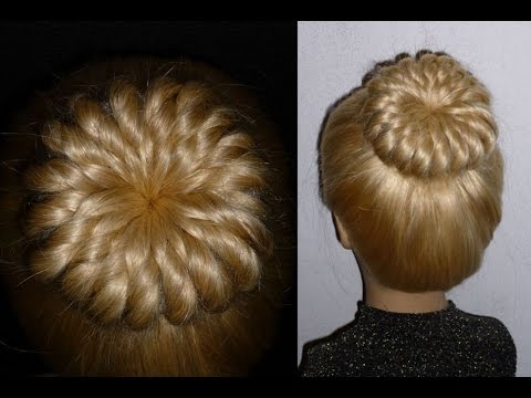 pinwheel bun hairstyle with donut. prom/ ballerina hairstyles