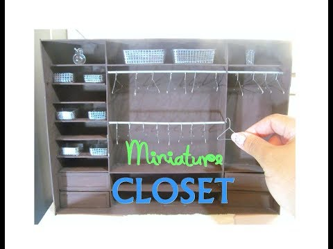 DIY Dollhouse Miniature Wooden Walk In Closet Wardrobe Furniture