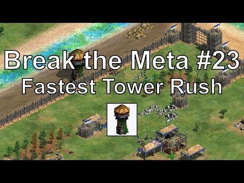 "Aoe2 ""Break the Meta"" #23: Fastest Tower Rush Ever! (3 Min Trush)"