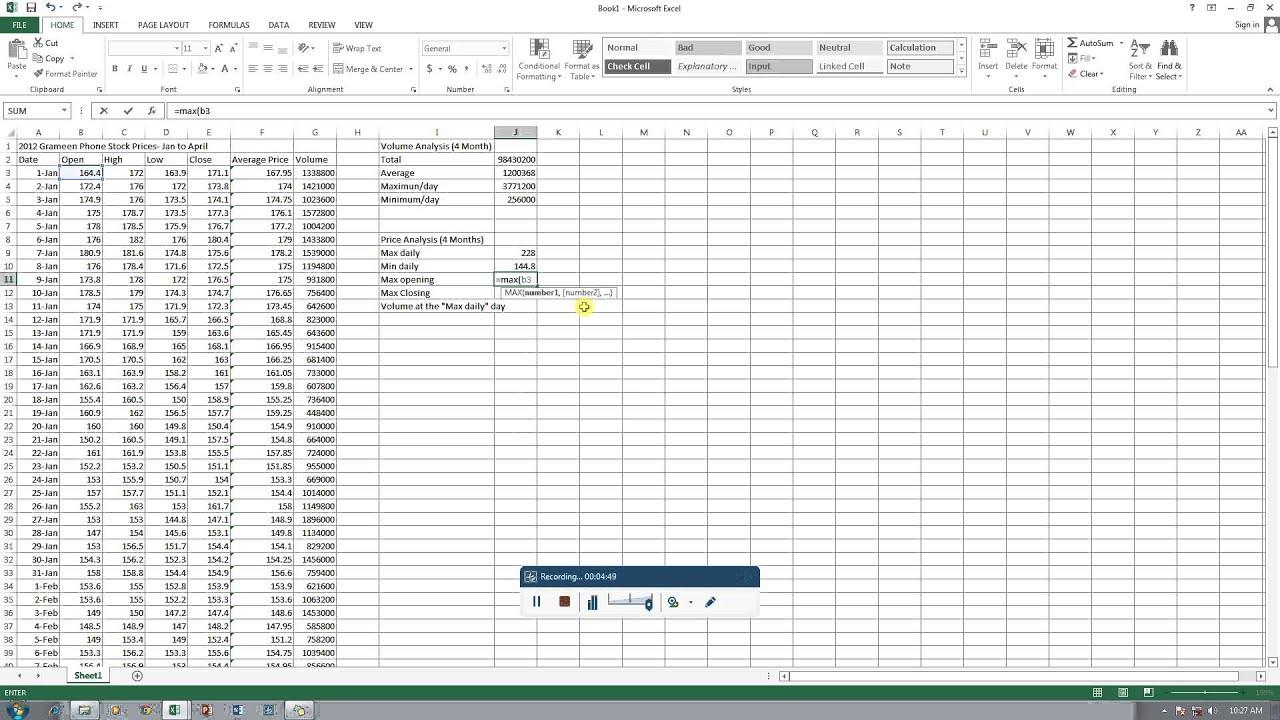 excel stock analysis