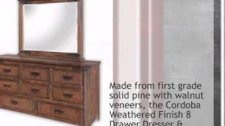 Cordoba Weathered Finish 8 Drawer Dresser & Mirror - Lonestarwesterndecor.com