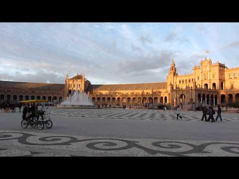 2013 España   Andalucia, Sevilla, Plaza de España, 180° , Au Coucher Du Soleil, à Noël, à Vélo
