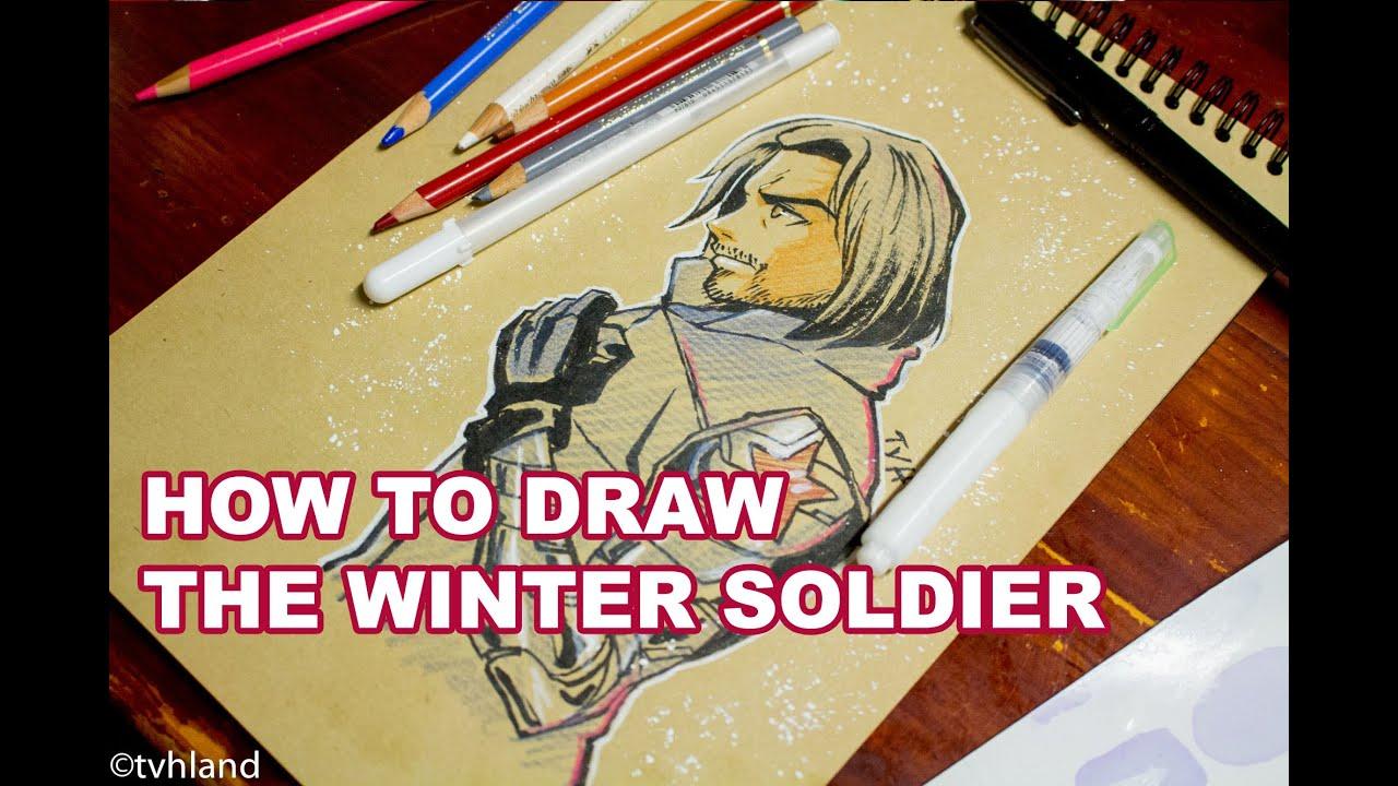 Comment dessiner le soldat d 39 hiver captain america civil war au papier kraft youtube - Comment dessiner captain america ...