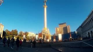 Ukrainian History at Independence Square: Girls, Kids, Tourists in Kiev, Ukraine