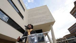 """""""Let There Be Peace"""" – Poet Lemn Sissay recites his poem on campus"""