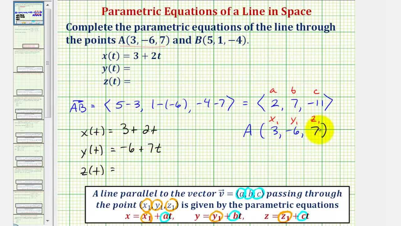 Ex Find The Parametric Equations Of A Line In Space Given Two