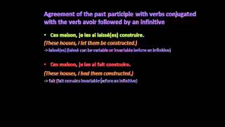 Agreement of the past participle with verbs conjugated with avoir followed by an infinitive