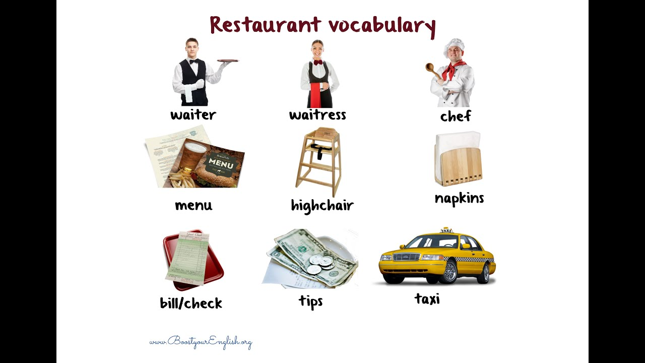Restaurant vocabulary youtube for Cuisine vocabulary