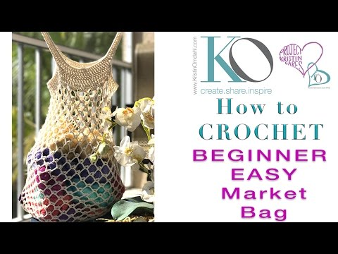 How to Crochet Bare Classic Market Bag SLOWER for Beginners Easy Quick Gift