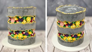 Fault Line Tower Cake | Butter cream Flower | Concrete Cake