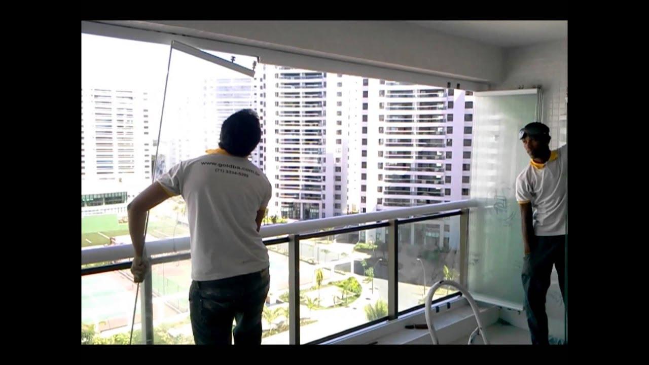 #858843 Montagem sistema fechamento de varanda Espaço Gold   274 Janelas De Vidro Reiki