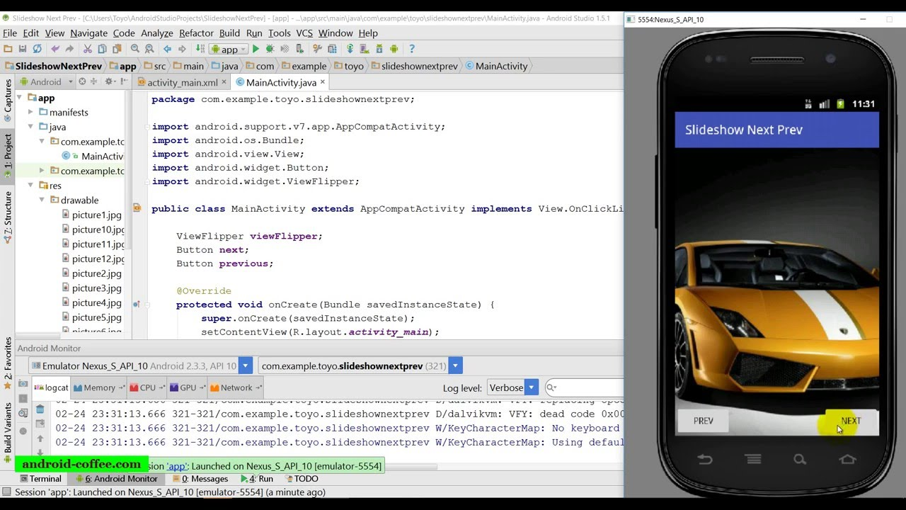 slideshow with next and prev buttons in android studio 1 5 1 youtube