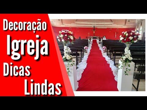 Casamento: Decoração igreja nos tons rosa, vermelho e branco