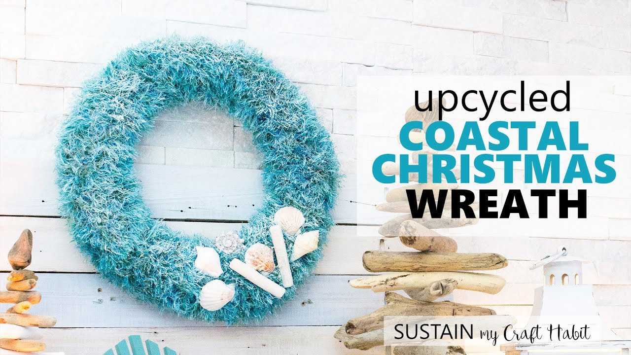 Nautical Christmas Wreath.5 Goodwill Challenge Diy Upcycled Coastal Wreath Coastal Christmas Decorating Ideas