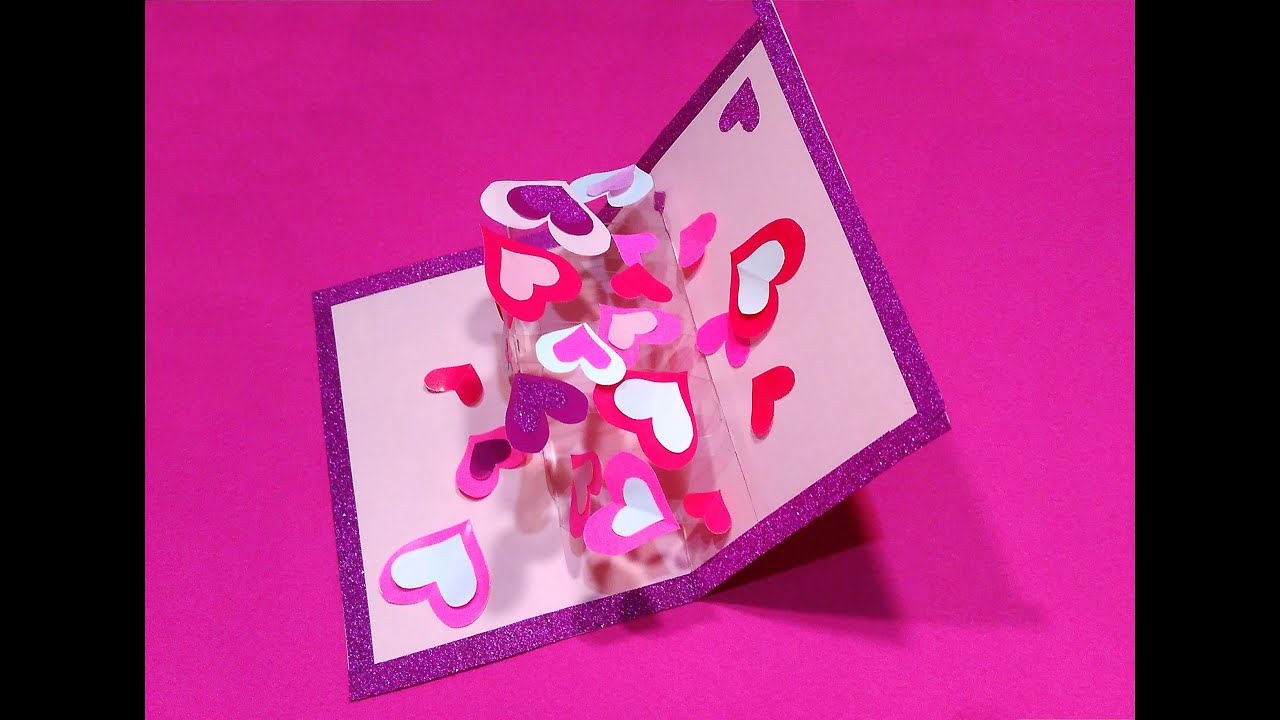 Valentines Greeting Card With Hearts Transparent Acetate DIY Pop Up