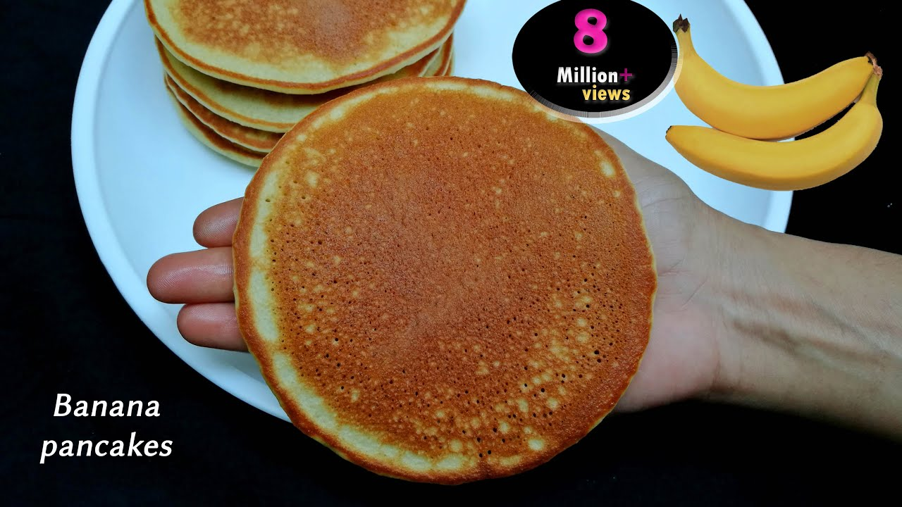 Banana Pancakes Recipe || Fluffy Banana Egg Pancakes