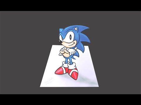 Como desenhar o Sonic 3D - passo a passo