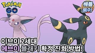 포켓몬 고 에브이 블래키 2세대 확정 진화 방법 & 이브이 대량 랜덤 진화 [배틀토이] Pokemon Go