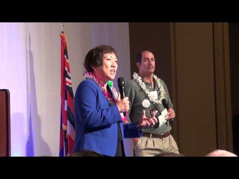 Colleen Hanabusa speaks at the Democratic Party of Hawaii Convention