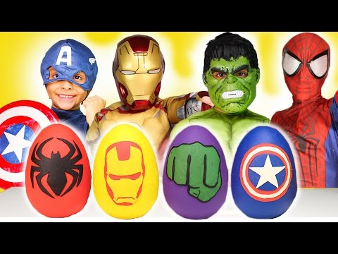 Avengers Play-Doh Surprise Eggs Disney Review New Kids Toys Iron Man Spiderman Captain Hulk Costumes