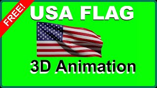 ✅ UNITED STATES 🇺🇸 FLAG Green Screen 3D Animation Full HD 1080 AMERICAN Animated Waving Overlay FREE