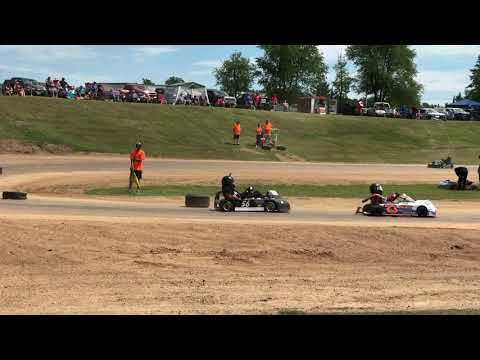 Rice Lake Speedway Kart Track. Partial video of Heat Race 2. 7-13-2019.
