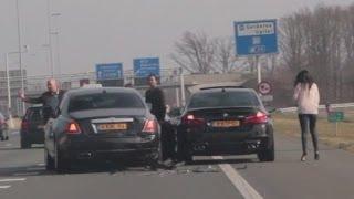 Crash: Audi S5 vs BMW M5 & Rolls Royce Ghost