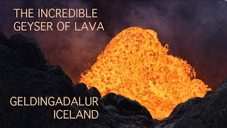 My drone above the incredible Icelandic geyser of lava