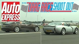 Tesla Model S vs TVR Tuscan S - Drag Race Shoot-out