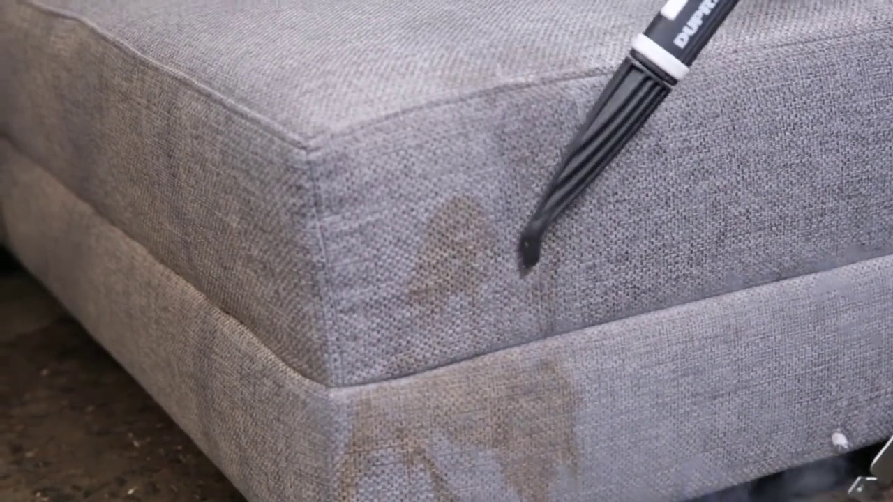 how to clean a fabric sofa with a steam cleaner youtube. Black Bedroom Furniture Sets. Home Design Ideas