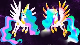 My Little Pony Transforms Mane 6 Princess Luna Celestia Rainbow Power Forms - Coloring Book For Kids