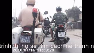 Thực tế  clip CSGT chạy trước camera hành trình, cảnh sát giao thông trên môtô