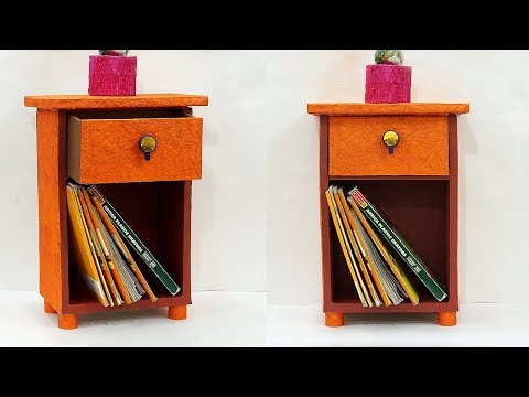 DIY Cupboard Style Table Organiser from Cardboard | Best Out of Waste Cardboard Craft Idea