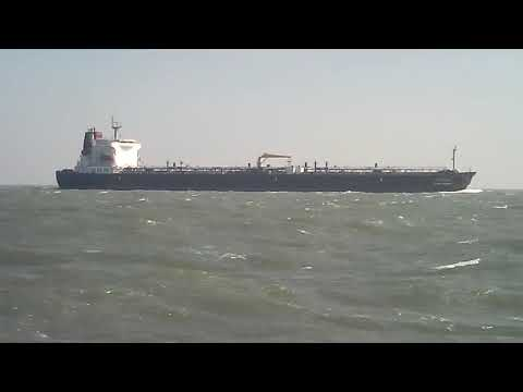 Big ship in storm in Indian ocean